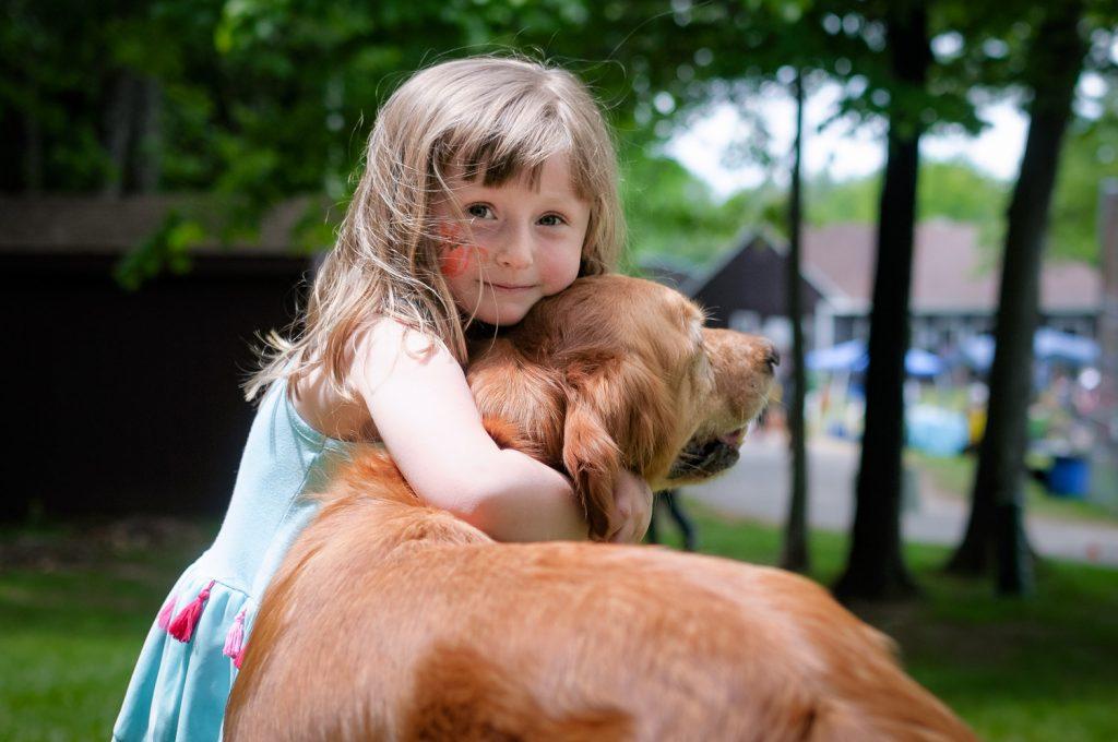 Little girl and golden
